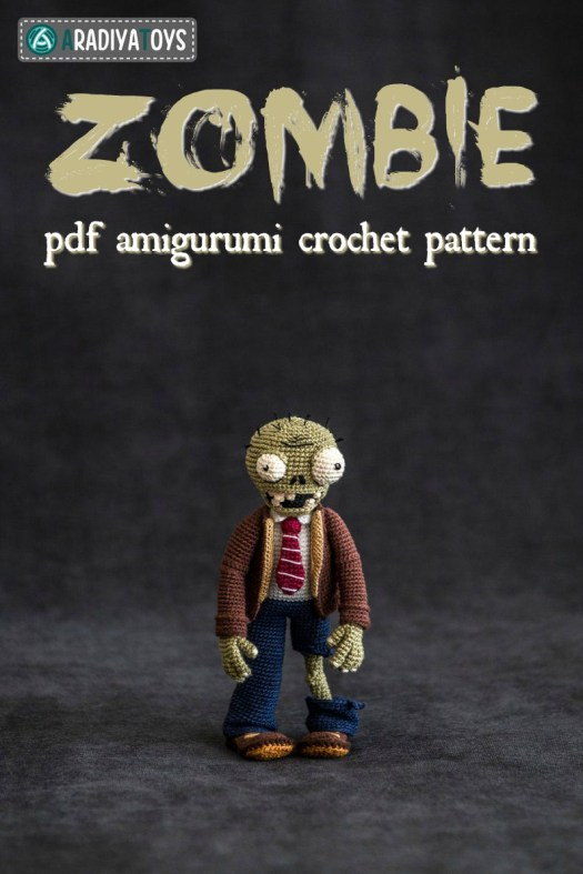 Zombie from Plants vs Zombies amigurumi crochet pattern! This looks so good; you need to make one of these for the Plants vs Zombies fan in your life! #crochetpattern #zombies #halloweencrochet #amigurumipattern #yarn #crafts #craftevangelist #plantsvszombies