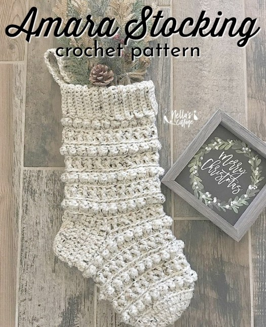 Beautiful textured crochet stocking pattern. I love the bobble textured stripes! Perfect for a farmhouse rustic style Christmas decor! #stockingpattern #crochetstocking #farmhouseChristmas #Christmasstocking #craftevangelist