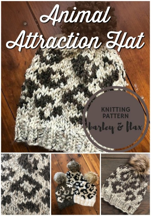 Animal Attraction Hat! Awesome intarsia knitting pattern for a leopard print beanie! How fun is this? #knittingpattern #knithat #knitbeanie #knittoque #hatpattern #beaniepattern #animalprint #craftevangelist