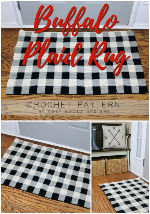 Simple and rustic buffalo plaid rug crochet pattern. I love the way these three colours of yarn come together to create the buffalo pattern. Perfect for a farmhouse touch at Christmas or all year round! #crochetpatterns #christmascrochet #farmhousestylecrochet #farmhousestyle #crochetChristmas #craftevangelist #crochetrug #buffaloplaid