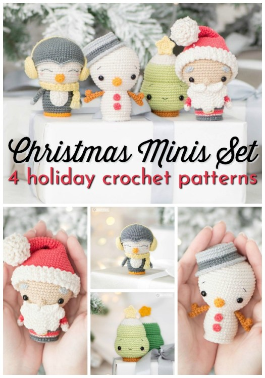 Sweet little amigurumi holiday characters. 4 crochet patterns in one: penguin, snowman, christmas tree and santa claus. Such adorable little amigurumi patterns, would make great ornaments! Excellent instructions and highly rated pattern! It's time to start working on your holiday gifts! #crochetpattern #amigurumipattern #crochetchristmas #handmadegifts #handmadechristmas #yarn #crafts #craftevangelist
