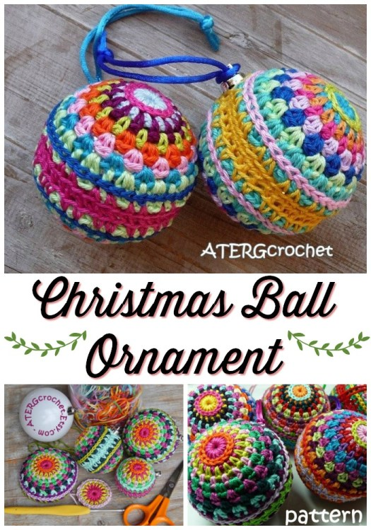 Colourful Christmas Ball Ornament Crochet pattern is a perfect quick handmade gift to make for coworkers or friends. These would sell well at craft fairs too. #crochetchristmas #crochetpattern #crochetornament #crochetdecorations #christmascrochet #craftevangelist