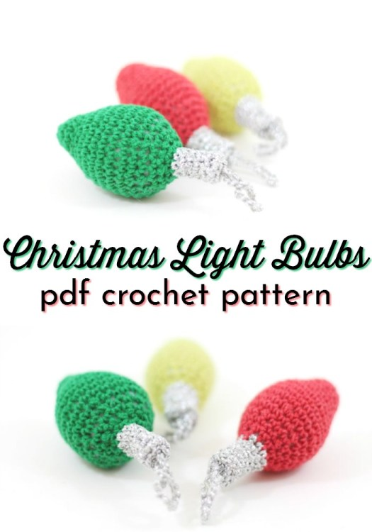 Cute and quick crochet pattern for Christmas lights. A string of Christmas lights would make a great Christmas garland! Or one of these bulbs would be a quick ornament! #crochetchristmas #crochetpattern #crochetornament #crochetdecorations #christmascrochet #craftevangelist
