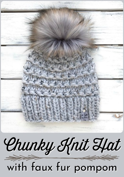 Chunky Knit Hat with faux fur pompom, special handmade beanie sized for an average adult woman's head. Love this gorgeous hat!  #knithat #fauxfurpom #handmadegiftideas #handmadegift #shoplocal #handmadeinyeg #yeghandmade #craftevangelist