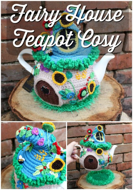 Adorable, incredible handmade crocheted fairy house teapot cozy! What a fun and thoughtful gift this would make for a tea fanatic! Such a good price for lovely detailed handiwork! #teacozy #teacosy #handmadegifts #crochetedgifts #handmade #fairyhouse #fairies #fantasygifts #craftevangelist
