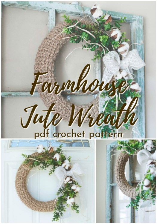 Beautiful rustic and timeless farmhouse style jute wreath crochet pattern! I love wreaths! This one would be perfect for Christmas or all seasons! #crochetpatterns #christmascrochet #farmhousestylecrochet #farmhousestyle #crochetChristmas #craftevangelist #farmhousewreath #wreathpattern #crochetwreath