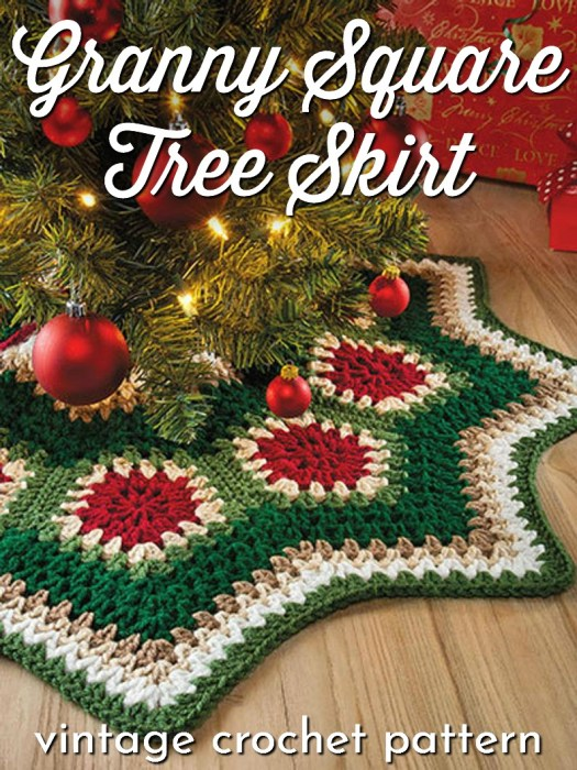 Vintage crochet pattern for a granny square or granny ripple tree skirt! So fun and retro. Love this for Christmas! It would make a great handmade gift! Perfect for beginners! #crochetchristmas #crochetpattern #crochetornament #crochetdecorations #christmascrochet #craftevangelist