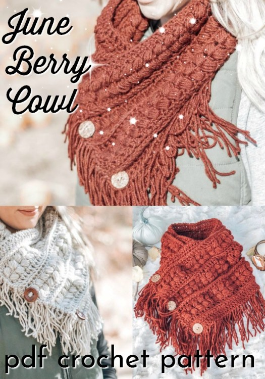 The June Berry Cowl is a fringed chunky textured scarf that is finished with wooden buttons. This crochet pattern is a perfect quick project to make for a loved one... or yourself! #crochetcowl #crochetscarf #fringe #crochetaccessories #craftevangelist