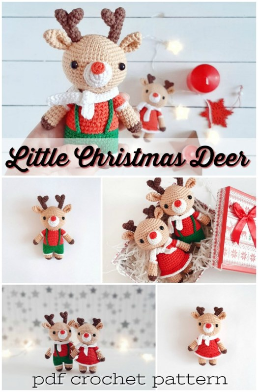 Little Christmas Deer amigurumi crochet pattern to make this adorable handmade toy for a holiday decoration or sweet little gift! #amigurumipattern #crochetpattern #crochettoy #handmadetoy #craftevangelist