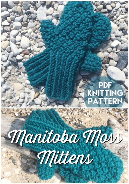 Manitoba Moss Mittens knitting pattern... a chunky textured knitted mitten, perfect for winter! Love this rich teal colour, too! #knitmittens #mittenpattern #knittingpattern #chunkyyarn #craftevangelist