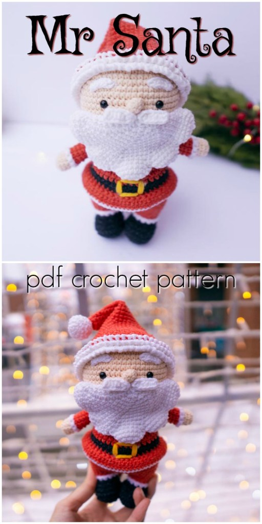 Mr Santa Amigurumi crochet pattern. Super cute little classic cartoonish Santa doll crochet pattern Perfect Christmas decoration or whimsical handmade gift idea. #crochetSanta #Christmascrochet #amigurumipattern #crochettoy #crochetpattern #craftevangelist
