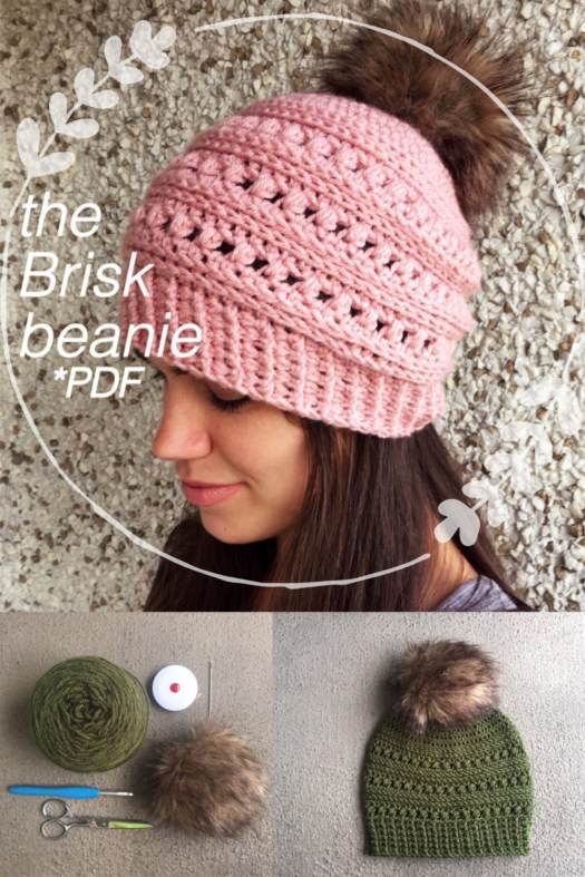 Adorable chunky textured beanie crochet pattern, the Brisk Beanie pdf crochet pattern to download and work immediately. Super trendy and I love the faux fur pompom! Perfect quick crochet Christmas gift! #crochetchristmas #crochetpattern #crochetornament #crochethat #hatpattern#christmascrochet #craftevangelist