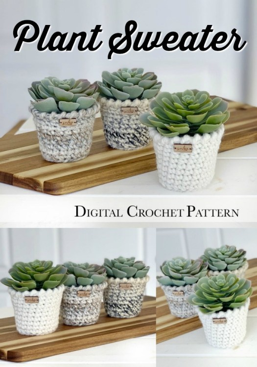 Crochet Plant Sweater Pattern. How sweet are these plant covers  with chunky yarn, they come together quickly and make perfect co-worker or handmade housewarming gifts! #crochetpatterns #farmhousestylecrochet #farmhousestyle #craftevangelist #rusticcrochetdecor #diyplantpots #crochetplants #plantdecor