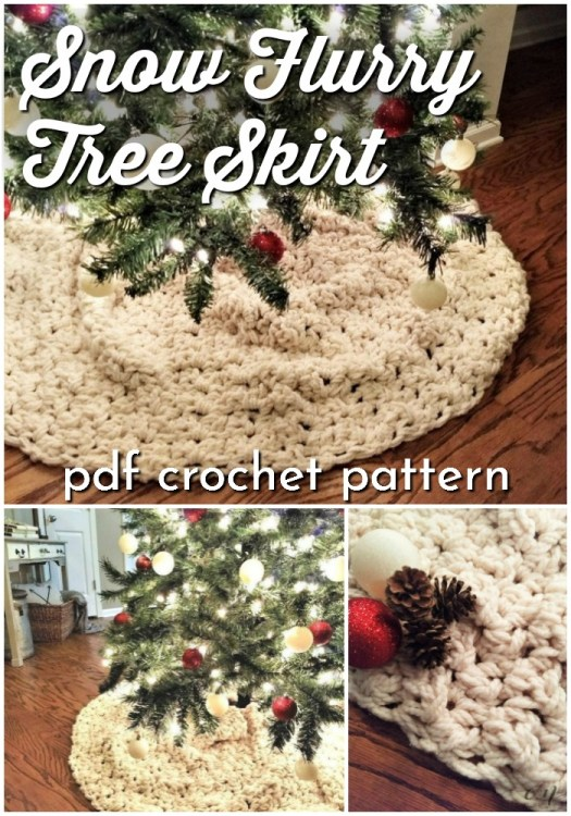 Snow Flurry Tree Skirt. This rustic tree skirt is unique in that it is a rectangle, so it's more like a tree scarf. Gathered up around your Christmas tree, this crochet  pattern makes up a homey and cozy spot for your tree. #crochetpatterns #christmascrochet #farmhousestylecrochet #farmhousestyle #crochetChristmas #craftevangelist #crochettreeskirt