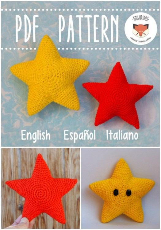 Simple, no sew star amigurumi crochet pattern. Perfect for Christmas or made with a bulky yarn would make a super fun throw pillow for a teen bedroom! #crochetpattern #amigurumipattern #Christmascrochet #crochetstar #starpillow #craftevangelist