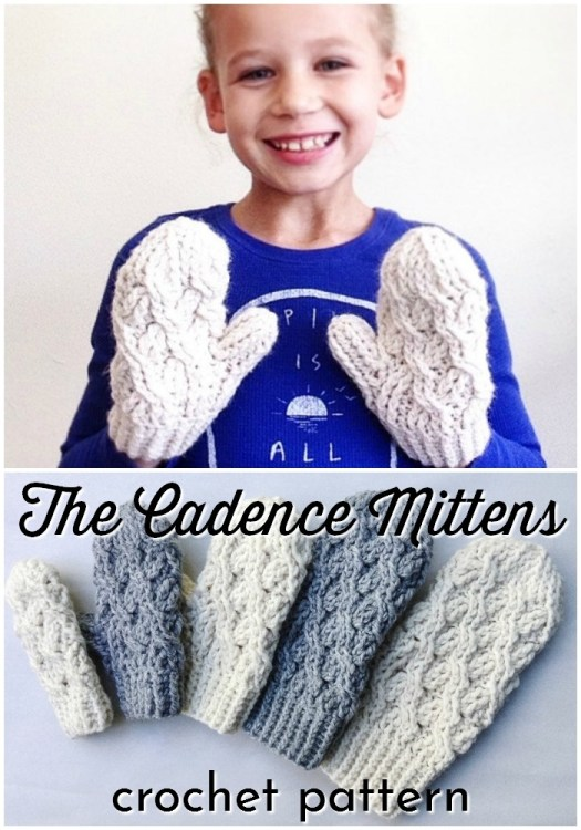 The Cadence Mittens crocheted cable mittens pattern. I love the chunky yarn and texture of this crochet pattern. So cute and cozy! #crochetpattern #crochetmittens #mittenpattern #mittenscrochet #craftevangelist