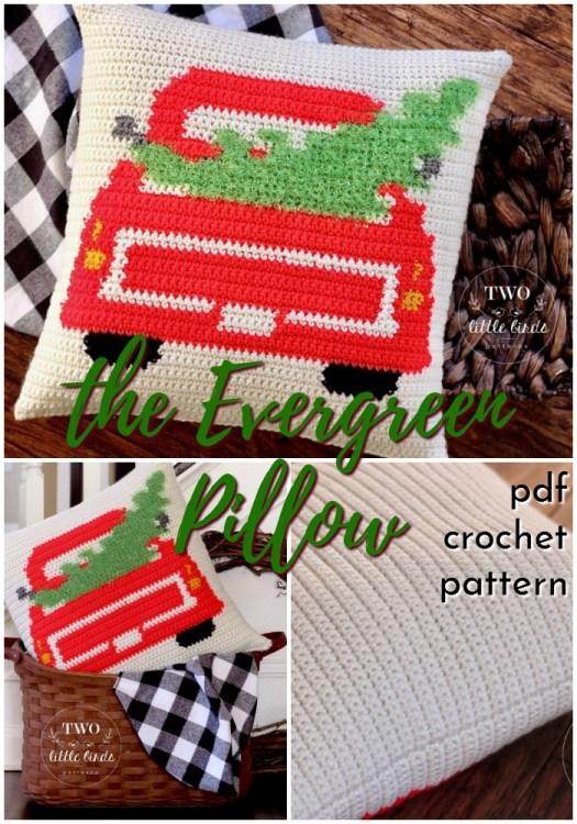 Classic Vintage Truck with Christmas tree throw pillow cover crochet pattern. How adorable is this? I love the furry sparkly yarn used for the tree! Such a fun crochet pattern for rustic farmhouse style Christmas decor! #crochetpatterns #christmascrochet #farmhousestylecrochet #farmhousestyle #crochetChristmas #craftevangelist #christmastree #throwpillow #crochetpillow #pillowcover