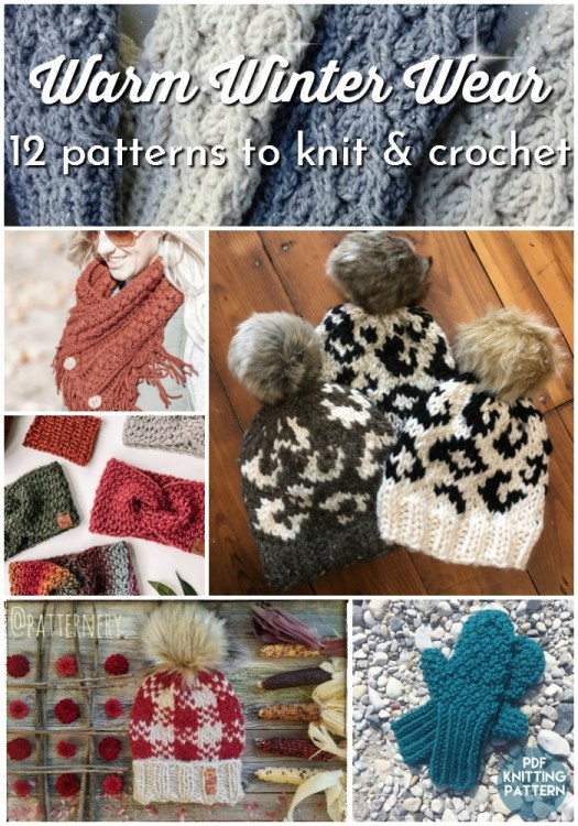 Knit or crochet one of these 12 warm winter wear accessories this winter. Gorgeous textures and fun patterns to make beautiful cowls, hats, ear warmers and mittens for your friends and family this winter! #knitpattern #crochetpattern #accessories #knitwear #crochetwear #cozy #craftevangelist