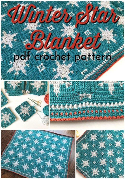 Winter Star Blanket crochet pattern. Lovely little pattern to work on for this fall, making a gorgeous holiday-ready afghan to curl up in or give as a fabulous handmade gift! Love this beautiful crochet pattern! #crochetpattern #crochetblanket #crochetafghan #blanketpattern #yarn #crafts #craftevangelist