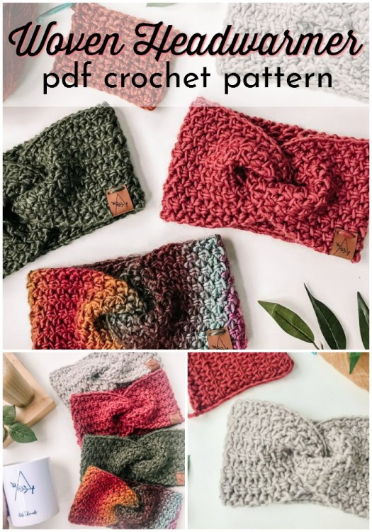 Love this twisted bow-tie woven headwarmer crochet pattern. Super cute texture on this headband. Perfectly on-trend this year! #crochetpattern #crochetheadwarmer #crochetheadband #crochetearwarmer #headbandpattern #craftevangelist