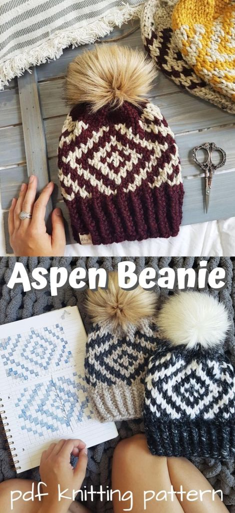 Aspen Beanie colorowork beanie. Perfect first project for a beginner to colourwork. I love the mesmerizing design on this cute hat! #knittingpattern #aspenbeanie #knithat #knitbeanie #beanipattern #toquepattern #knittoque #knitting #craftevangelist