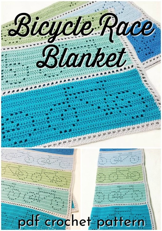 Bicycle Race Blanket. This is a filet style crochet blanket with rows of bicycles that change directions each row. This pattern includes written directions in US terms and a crochet chart. You can make this blanket in any size as well as any gauge. #crochetpattern #crochetblanketpattern #bikeblanket #blanketpattern #filetcrochet #craftevangelist