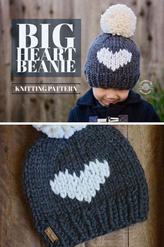 Big Heart Beanie. This colourwork looks knit, but it is embroidered on afterwards! So if you want to do some colourwork, but are frustrated with fair isle or intarsia techniques, try this pattern! #heartbeanie #knitheartbeanie #bigheart #knittingpattern #knitbeaniepattern #hearts #lovetoque #hearttoque #heartbeanie #craftevangelist