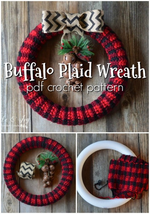 Gorgeous, fun and simple buffalo plaid wreath crochet pattern. Make your own wreath with this fun and unique crochet pattern! Perfect for the holidays! #crochetpattern #crochetwreath #wreathpattern #buffaloplaid #plaidcrochet #crochetchristmas #craftevangelist