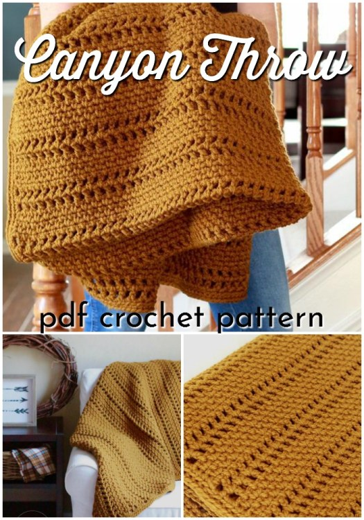 The Canyon Throw is a beginner level crochet blanket pattern perfect to work up during the winter break. I love this gorgeous mustard colour! Perfect easy crochet afghan pattern! #crochetpattern #crochetblanket #crochetafghan #crochetthrow #throwpattern #afghanpattern #blanketpattern #craftevangelist