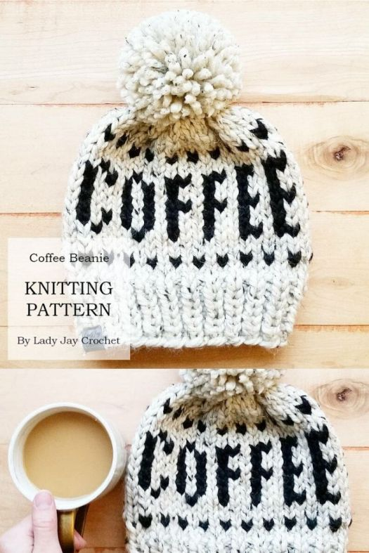 Coffee lovers knit beanie pattern. Can't wait to make this coffee toque for my friend! She will love this! Super bulky knits up quickly, uses up leftover yarn! #knitting #knitbeaniepattern #beaniepattern #hatpattern #toquepattern #knithat #knittoque #knitbeanie #knitting #craftevangelist
