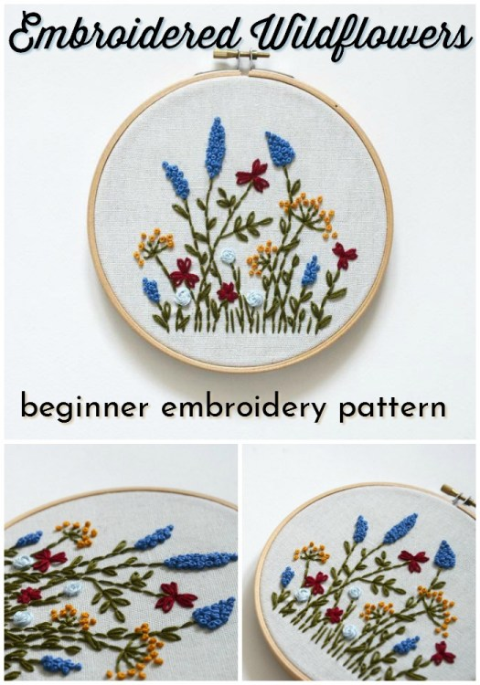 Beginner embroidery pattern with embroidered wildflowers. Practice this to go on my knitting. How cute would these flowers look on the pocket of a cardigan? Love it! #embroidery #beginnerembroidery #yarn #crafts #craftevangelist