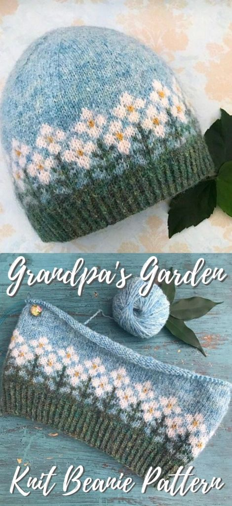 Grandpa's Garden fair isle colourwork beanie pattern. I love the cute little row of flowers on this gorgeous delicate hat! Such a sweet pattern! #knittingpattern #colorworkhat #knithatpattern #knitbeaniepattern #beaniepattern #craftevangelist