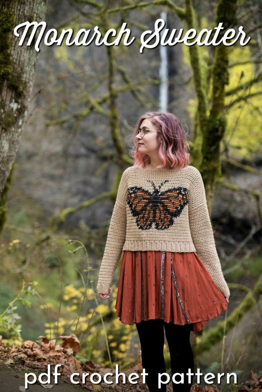 What a beautiful crocheted sweater pattern! I love this gorgeous monarch butterfly design on this cute little sweater! #crochetpattern #crochetsweater #sweaterpattern #colourwork #crochet #craftevangelist