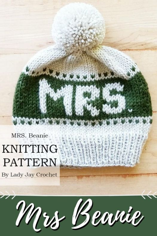 Mrs Beanie Knitting pattern. Perfect first married Christmas handmade gift idea for the newlywed bride and groom! Super fun for a winter wedding gift! #knittingpattern #knittoque #knithat #knitbeanie #beaniepattern #toquepattern #mrshatpattern #mrsbeanie #mrandmrs #craftevangelist