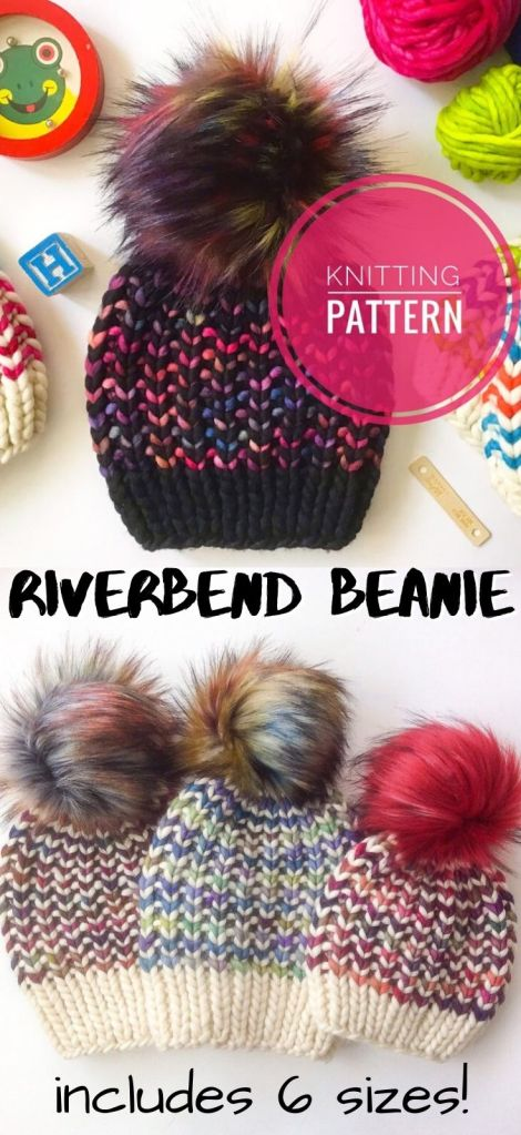 Riverbend Beanie in 6 sizes, perfect to make one for every member of the family. I love the colourful yarns chosen for these hats! So fun to turn a simple pattern into something fabulous! #knittingpattern #knithatpattern #knitbeanie #beaniepattern #knittoque #toquepattern #hatpattern #knithat #knitting #craftevangelist