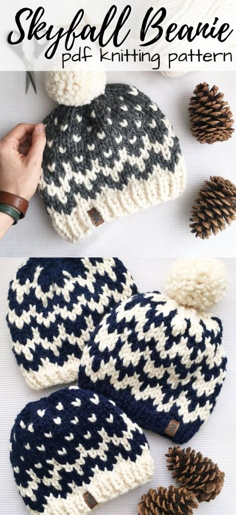 Two patterns in one! Check out this fun two-colour fair isle knitting pattern for the Skyfall Beanie. Instant download with super bulky yarn. Knits up quickly with lots of instructions for beginner knitters! Perfect first colourwork project! #knitting #knitpattern #knithatpattern #knitbeaniepattern #knitbeanie #beanipattern #knittoque #toquepattern #winterhat #bulkyyarn #craftevangelist
