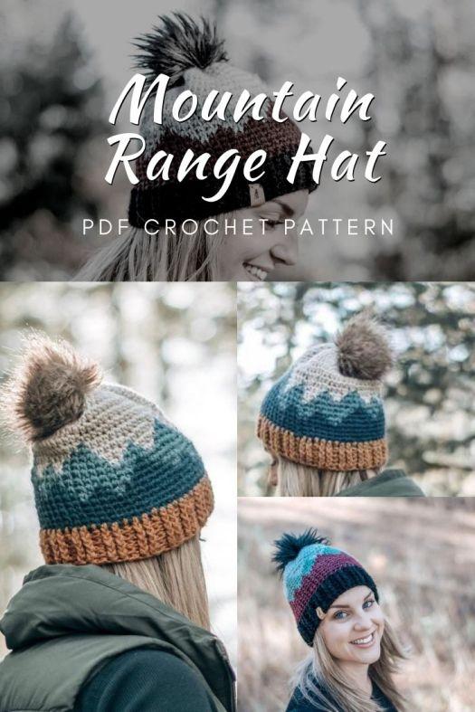 Mountain Range Hat crochet pattern. I love this beanie pattern! Such a great outdoorsy winter hat pattern. So fun. #crochethat #crochetpattern #hatpattern #mountainrangehat #craftevangelist