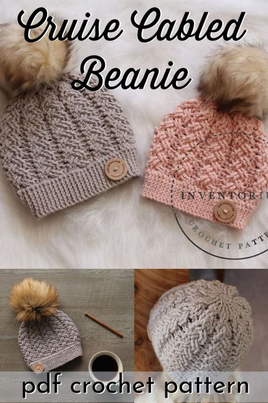 Gorgeous cabled texture on this CROCHETED beanie pattern! I love this beautiful hat and the decreases at the top are worked in the cable pattern, which makes for a gorgeous crown that doesn't even need a faux fur pompom! Gorgeous with or without! #crochetpattern #crochetbeaniepattern #crochethatpattern #crochetcables #craftevangelist