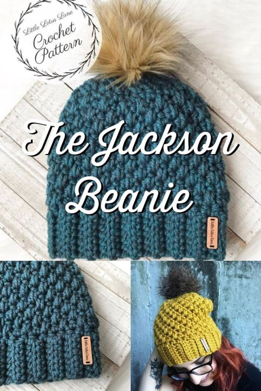 Adorable textured crochet beanie pattern, the Jackson Beanie is a lovely winter hat pattern that crochets up quickly with chunky yarn! I love making hats as gifts for friends; so quick and easy and impressive handmade gifts! #crochetpattern #crochethatpattern #crochetbeaniepattern #crochet #beaniepattern #crochettoque #craftevangelist