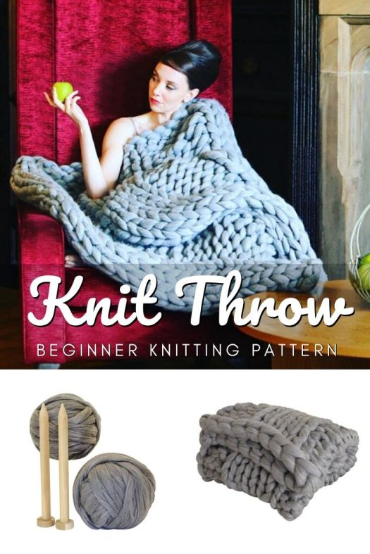 Giant chunky knit throw beginner knitting pattern, perfect easy blanket to learn to knit for a new knitter! Love the luxurious look of this blanket knit with super chunky yarn. #beginnerknittingpatterns #beginnerknits #knitblanketpattern #easyknittingpattern #easyknits #learntoknit #craftevangelist