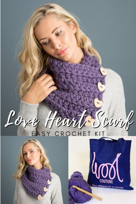 Gorgeous chunky cowl scarf crochet kit. Comes with those cute wooden heart buttons, the pattern and some of that gloriously thick chunky yarn in your choice of colours! This beautiful scarf is a perfect beginner crochet project and the kit with all the supplies is such a great idea. This would make such a lovely gift! #crochetpattern #crochetkit #crochetscarf #valentinesscarf #craftevangelist
