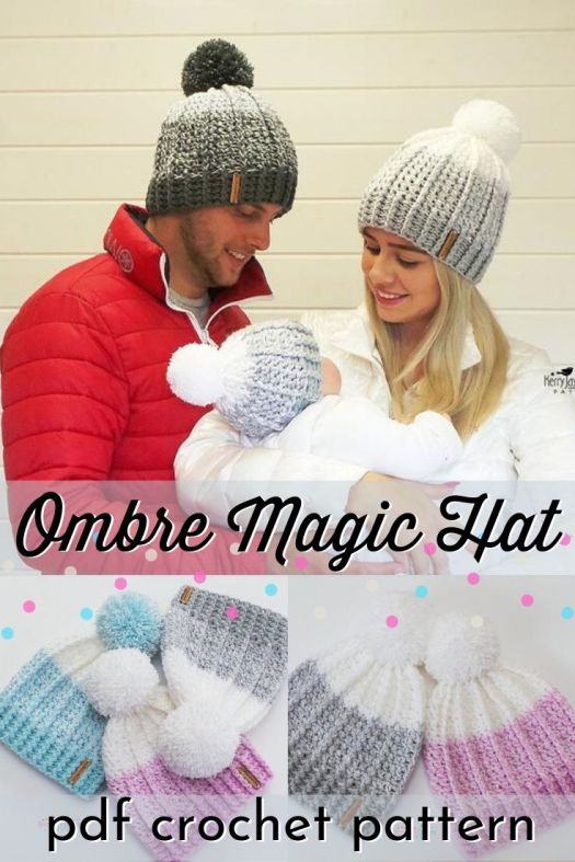 The Ombrè Magic Hat is a fabulous hat! Long ridge lines, along with a clever mix of two contrasting yarn colours create a beautiful, dynamic hat with a lovely ombrè effect. Topped with a large Pom pom, you will surely be heads above the crowd #crochetpattern #crochethatpattern #crochetbeaniepattern #beaniepattern #craftevangelist