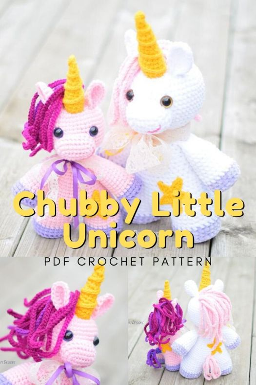 Sweet Little Chubby Unicorn amigurumi crochet pattern! I can't wait to make this stuffed toy crochet unicorn! It will make such a fun gift idea for a unicorn loving child! #crochetpattern #amigurumipattern #yarn #crafts #craftevangelist
