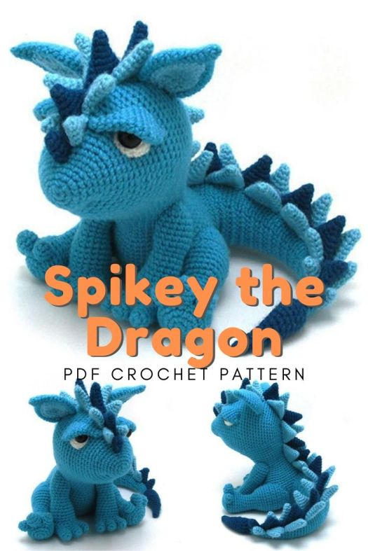 Spikey the dragon is an adorably miserable stuffed toy amigurumi pattern. I can't wait to crochet this sweet surly toy for one of my nephews. Great teen crocheted gift idea! #crochetpattern #amigurumipattern #crochetdragon #dragoncrochetpattern #crochet #amigurumi #stuffedtoy #handmadegifts #craftevangelist
