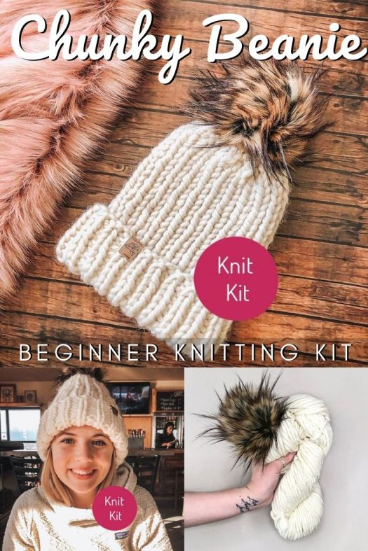 This Chunky Beanie knitting kit is perfect for beginners with chunky luxuriously soft merino wool and a gorgeous faux fur pompom makes a perfect easy knitting project for new knitters! #knittingkit #beginnerknittingkit #beginnerknits #easyknittingpattern #easyknithat #craftevangelist