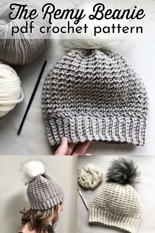 The Remy Beanie crochet hat pattern. Lovely stitch definition and you can even get a matching mitten pattern for it too! So cute! Love this toque pattern! Great round up of crocheted hat patterns #crochetpattern #crochetbeaniepattern #crochethatpattern #crochetbeanie #crochettoque #toquepattern #craftevangelist