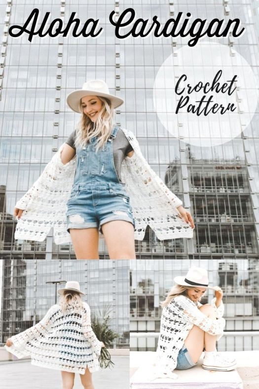 Gorgeous lightweight crochet pattern for this Aloha Cardigan. Love this flowy and summery beachy cover up crochet pattern! Can hardly wait to make one of these for summer! #crochetpattern #crochetcardigan #crochet #crochettoppattern