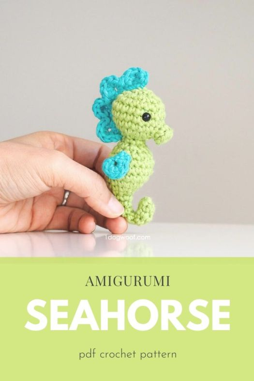 Super cute and tiny amigurumi seahorse crochet pattern. Love these tiny handmade crochet stuffed toys! A seahorse is such a fun unique idea! #crochetpattern #amigurumipattern #crochettoys #handmadegiftideas #patternroundup #craftevangelist