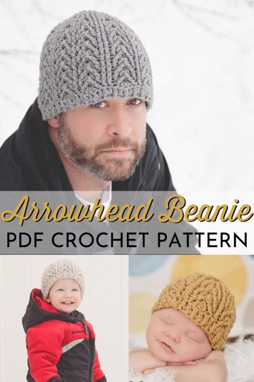 Arrowhead Beanie Crochet Men's Hat Pattern. Textured men's toque crochet pattern in multiple sizes. Unisex crochet pattern for the whole family! #crochetpattern #crochethatpattern #hatpattern #menshatpattern #craftevangelist
