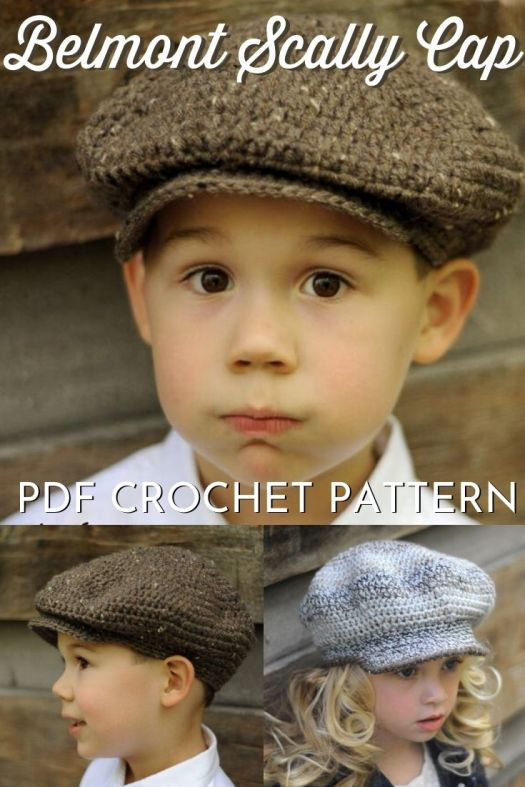"Newsboys or Peaky Blinders-inspired 1920's Belmon Scally Cap, perfect Newsies crochet hat pattern to make for men or boys or even girls! Lovely hat pattern with a bonus American Girl 18"" doll size hat pattern included as well! #crochethatpattern #crochetpattern #hatpattern #crochet #crochetnewsboyshat #craftevangelist"